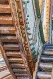 Kugghjul av järnvägbron Friesenbrucke nästan Weener i Ge Fotografering för Bildbyråer