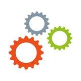 Kugghjul bearbetar med maskin den isolerade symbolen stock illustrationer