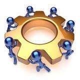 Kugghjul för arbetare för arbete för lag för teamworkaffärsprocess roterande royaltyfri illustrationer