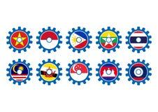Kugghjul för forum för ekonomisk gemenskap för ASEAN, AEC-näringsliv, vektorillustration i plan design Arkivfoton