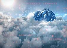 kugghjul för kugge 3D fördunklar med serveror i bakgrund Royaltyfria Bilder
