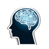 Kugghjul för mänsklig hjärna stock illustrationer
