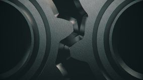 kugghjul för metall som 3D roterar i Loop-5 royaltyfri illustrationer