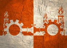Kugghjul förbindelse av gasröret Texturerad betong Arkivfoto