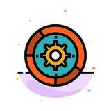 Kugghjul inställningar, aktivering, motor, för färgsymbol för process abstrakt plan mall royaltyfri illustrationer