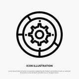 Kugghjul inställningar, aktivering, motor, processlinje symbolsvektor royaltyfri illustrationer