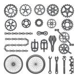 Kugghjul, kedjor, hjul och andra olika delar av cykeln royaltyfri illustrationer