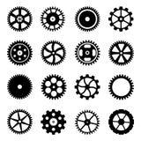 Kugghjul (kugghjulhjul) av den olika designen. stock illustrationer