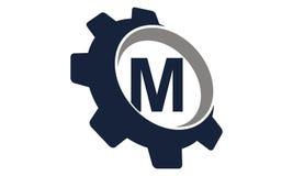 Kugghjul Logo Letter M stock illustrationer