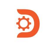 Kugghjul med D-begreppsdesign Arkivbild