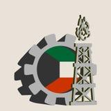Kugghjul med den enkla symbolen för gasrigg som textureras av den Kuwait flaggan Arkivfoto