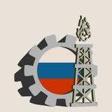 Kugghjul med den enkla symbolen för gasrigg som textureras av den Ryssland flaggan Arkivbild