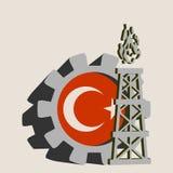 Kugghjul med den enkla symbolen för gasrigg som textureras av den Turkiet flaggan Arkivfoton