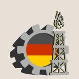 Kugghjul med den enkla symbolen för gasrigg som textureras av Tysklandflaggan Arkivfoton