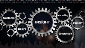 Kugghjul med nyckelord, kund, lust, tillfredsställelse, marknadsföring, strategi, affärsmanpekskärm 'INBLICK',
