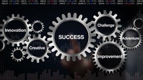 Kugghjul med nyckelordet, ledarskap, innovation som är idérik, affärsföretag, förbättring Affärsmanpekskärm'FRAMGÅNGAR vektor illustrationer