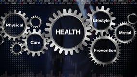 Kugghjul med nyckelordet, omsorg, livsstil, förhindrande, läkarundersökning som är mental, rörande skärm 'HÄLSA' för affärsman, royaltyfri illustrationer