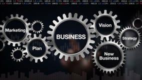 Kugghjul med nyckelordet, plan, marknadsföring, vision, strategi, ny affär, affärsmanpekskärm 'AFFÄR', stock illustrationer