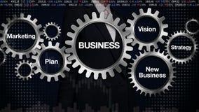 Kugghjul med nyckelordet, plan, marknadsföring, vision, strategi, ny affär, rörande skärm 'AFFÄR' för affärskvinna, stock illustrationer