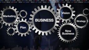 Kugghjul med nyckelordet, plan, marknadsföring, vision, strategi, ny affär, rörande skärm 'AFFÄR' för affärsman, royaltyfri illustrationer