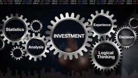 Kugghjul med nyckelordet, statistik, analys, logiskt tänka, erfarenhet, beslut Affärsmanpekskärm 'INVESTERING',