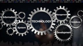 Kugghjul med nyckelordet, system för informationsledningutveckling, lösningar Affärsmanpekskärm 'teknologi', royaltyfri illustrationer