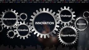 Kugghjul med nyckelordet, utmaning, tillfälle som är idérikt, förbättring, framgång, affärsmanpekskärm 'INNOVATION',