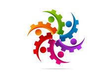 Kugghjul motor, maskin, teamwork, anslutningslogodesign Arkivfoton