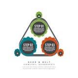 Kugghjul och bälte Infographic Fotografering för Bildbyråer