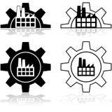 Kugghjul och fabrik stock illustrationer