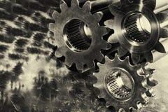 Kugghjul och kuggar titan och stål Arkivfoton