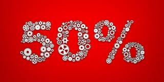 Kugghjul- och kuggeformtext - 50% att fästa ihop innehåller försäljning för bildmetaforbana vektor illustrationer