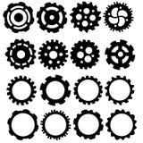Kugghjul- och kuggesymbolssamling Fotografering för Bildbyråer