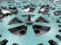 Kugghjul- och kugghjulmaskinlärabakgrund Illustration för mekanism 3D Royaltyfria Bilder
