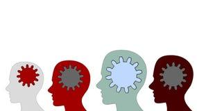 Kugghjul roterar inom hjärnmakten av teamwork på vit bakgrund stock illustrationer