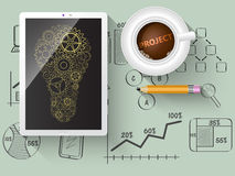 Kugghjul som en designbeståndsdel i en ljus kula Arkivfoton
