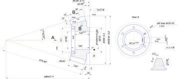 Kugghjul, trammel, blyertspenna och utkast 3d Tandat kugghjul Arkivbild