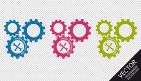 Kugghjul under konstruktion med hjälpmedel - färgrika vektorsymboler - som isoleras på genomskinlig bakgrund stock illustrationer