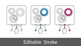 Kugghjul under konstruktionssymbolet - översikt utformade symbolen - redigerbar slaglängd - vektorillustration - som isoleras på  vektor illustrationer
