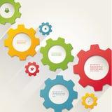 Kugghjulanslutning, teamwork Colorfully idérik mall med utrymme för ditt innehåll Stock Illustrationer