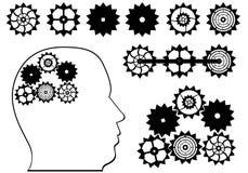 Kugghjulen och huvudet Stock Illustrationer