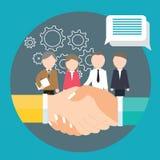 Kugghjulet för arbete för laget för begreppet för mötet för partnerskap för affärshandskakningöverenskommelse förser med kuggar Arkivbilder