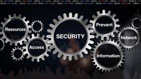 Kugghjulet med nyckelordet, information, förhindrar, resurser, tillträde, nätverket, affärsmanpekskärmen 'SÄKERHET', royaltyfri illustrationer