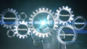 Kugghjulet med nyckelordet, information, förhindrar, resurser, tillträde, nätverket, roboten, ` för SÄKERHET för cyborgpekskärm`, royaltyfri illustrationer