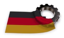 Kugghjulhjul och flagga av Tyskland stock illustrationer