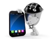 Kugghjulknopptecken med den smarta telefonen Arkivfoton