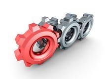 Kugghjulkugghjul med den röda ledaren på vit bakgrund Fotografering för Bildbyråer