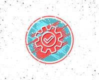 Kugghjullinje symbol Godkänt tjänste- tecken Royaltyfri Fotografi