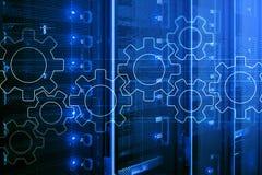 Kugghjulmekanism, digital omformning, dataintegration och begrepp f?r digital teknologi vektor illustrationer