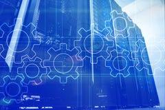 Kugghjulmekanism, digital omformning, dataintegration och begrepp f?r digital teknologi royaltyfria bilder